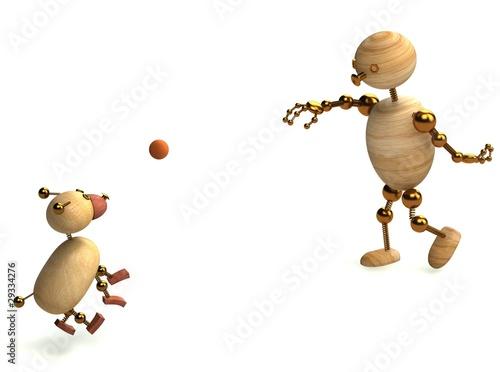 Photo  Wood man playing with dog ball