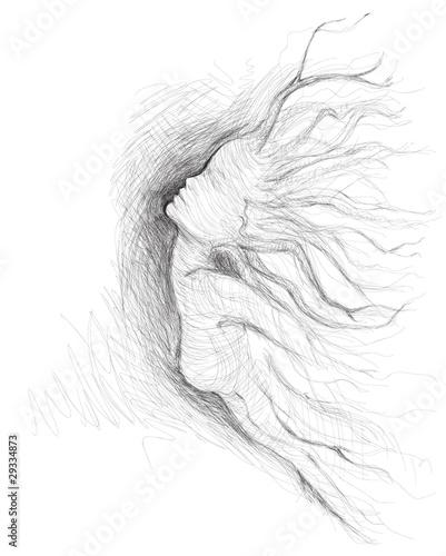 Carta da parati Tree like woman Daphne / realistic sketch (not auto-traced)