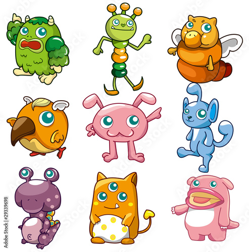 Poster Creatures cartoon monster icon