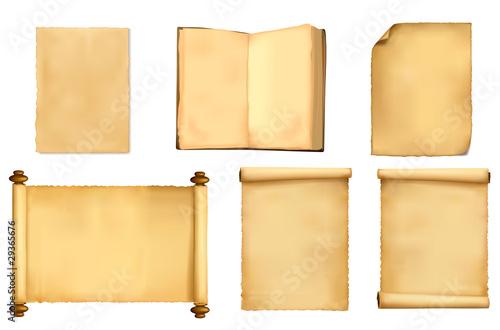 Fototapeta Set of old paper sheets. Vector illustration. obraz