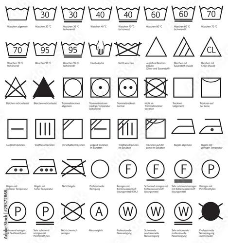 Fotografija Textilpflegesymbole Waschen, Reinigen, Trocknen, Glätten