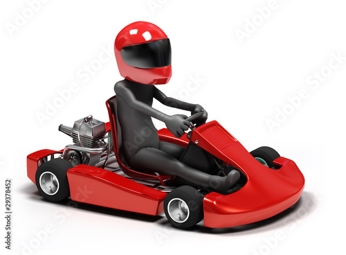 Foto op Canvas Cars 3d character driving a go kart