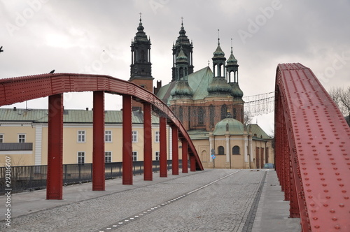 Jordan bridge and cathedral in Poznan, Poland