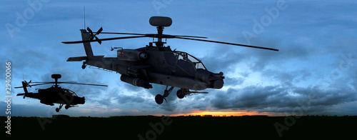 Foto op Canvas Helicopter us kampfhubschrauber sunset