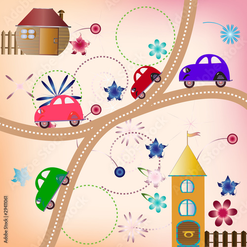 Poster de jardin Route Road with color cars, children's style