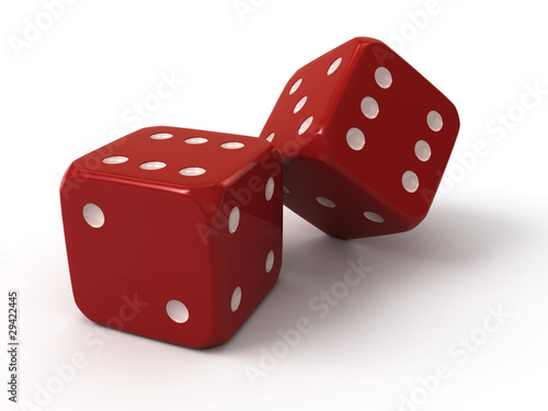 Two red dice плакат