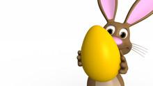 Osterhase Hält Ei In Die Kamera