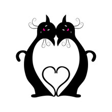 Two Black Cats With Heart Between Them