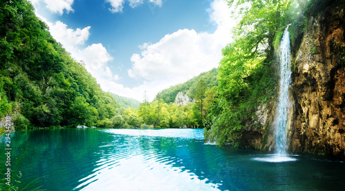 Staande foto Watervallen waterfall in deep forest
