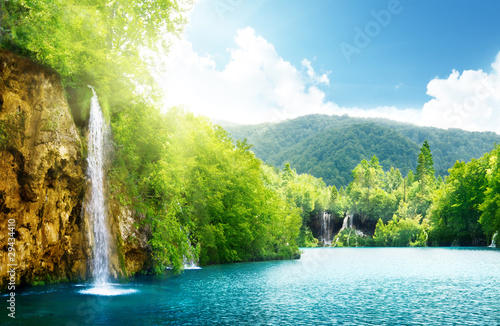 Keuken foto achterwand Watervallen waterfall in deep forest