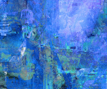 Blue Impressionist Textured Abstract