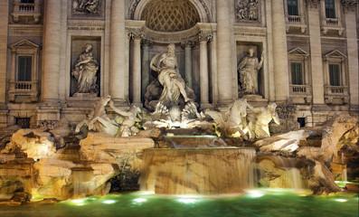 Panel Szklany Podświetlane Vintage Trevi Fountain, Rome