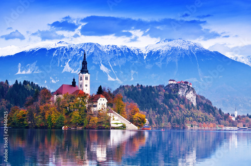 Bled with lake, island,  Slovenia, Europe Canvas Print