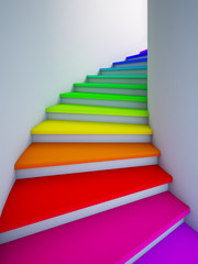 Fototapeta Schody Spiral colorful stair to the future.