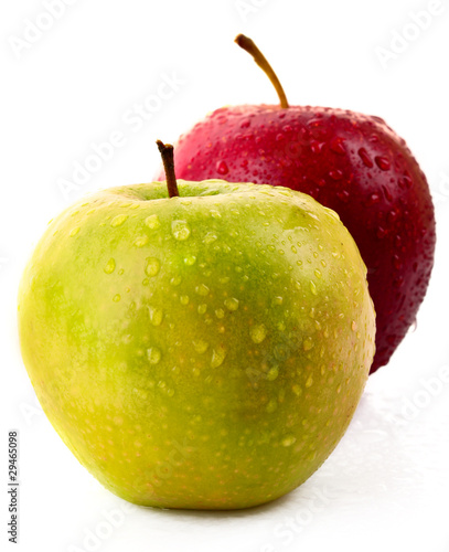 Staande foto Vruchten Red and green apples isolated on white