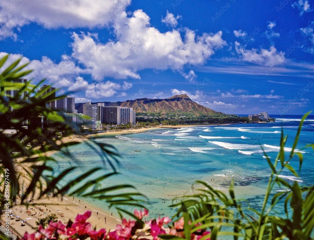Fototapeta waikiki beach and diamond head in hawaii