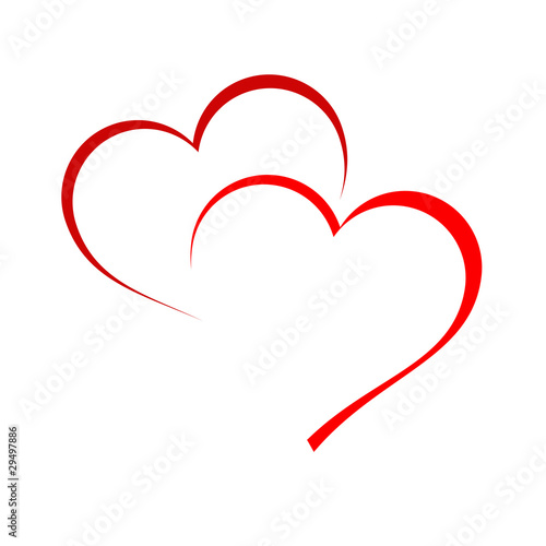 Fotografie, Obraz  Logo two hearts # Vector