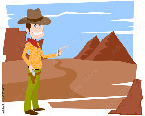 Aluminium Prints Wild West The cowboy with a pistol
