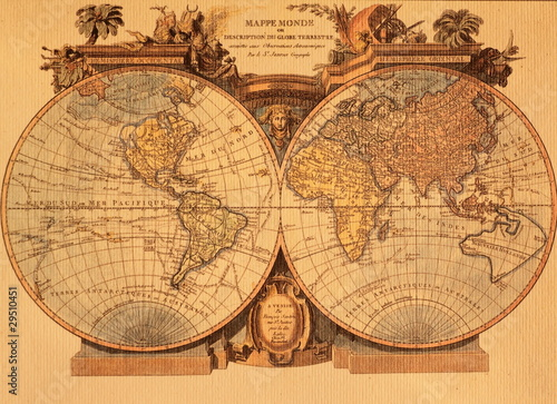 Acrylic Prints World Map ancient map of the world