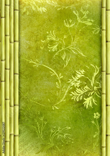 Bamboo border and green decorative floral background