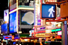 Keep Walking New York Traffic Sign With Blurred Background