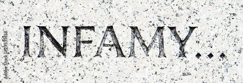"Photo  Word ""Infamy"" Carved in Gray Granite Pearl Harbor"