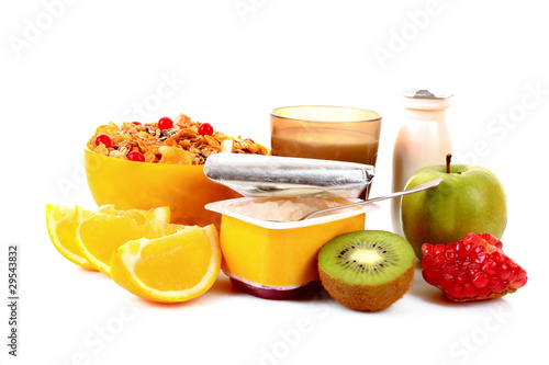 Foto op Canvas Sap Yoghurt, muesli, milk and fruits isolated on white