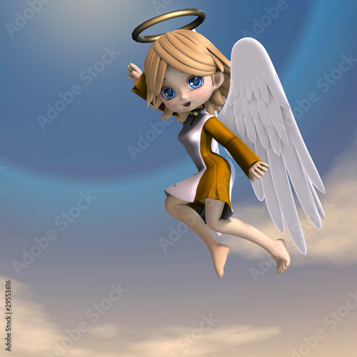 cute cartoon angel with wings and halo  3D rendering with