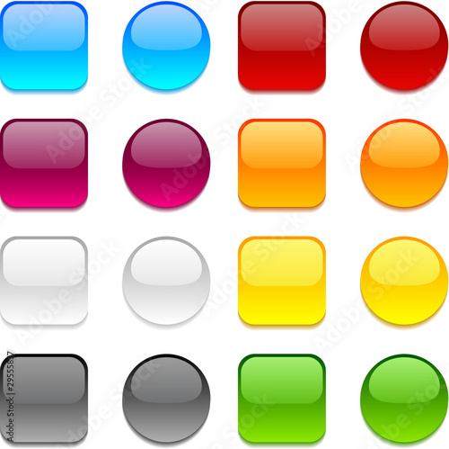 Poster  Vector color buttons on white.