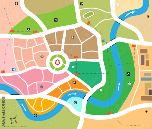 Obraz City map vector - fototapety do salonu
