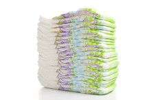 One Stack Of Diapers Over Whit...