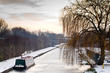 Barge On Frozen River