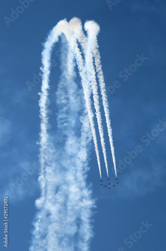 Airshow - Red Arrows - BAE Hawk - Way down in  Formation Canvas Print