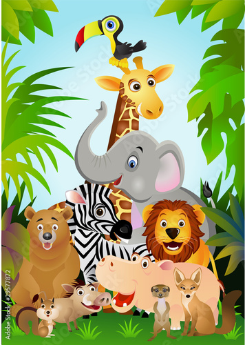 La pose en embrasure Forets enfants Wild animal cartoon