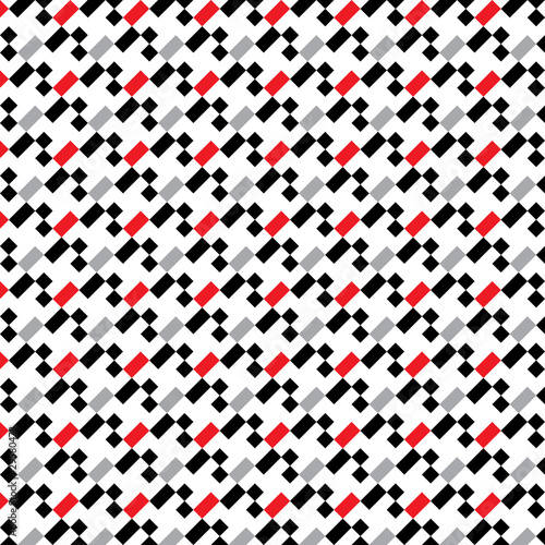 Photo  A seamless pixel pattern in white red grey and black.