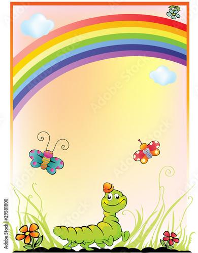 In de dag Regenboog children's background with a rainbow, caterpillar and butterfly