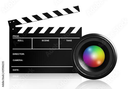 Fotografie, Obraz  lens & clap board on white