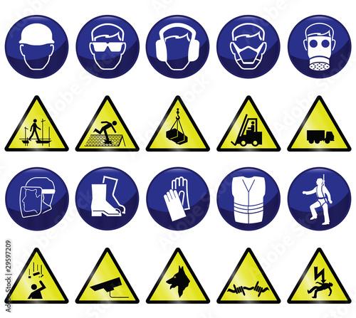 Plakaty BHP zwiazane-z-budowa-obowiazkowe-i-niebezpieczne-ikony-i-znaki