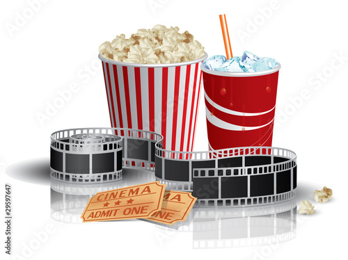 Photo  Popcorn, drink and filmstrip