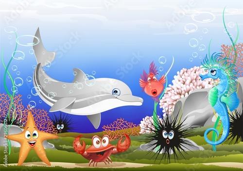 Foto-Stoff - Animali Mare Sfondo Marino-Sea Animals Background-Vector (von BluedarkArt)