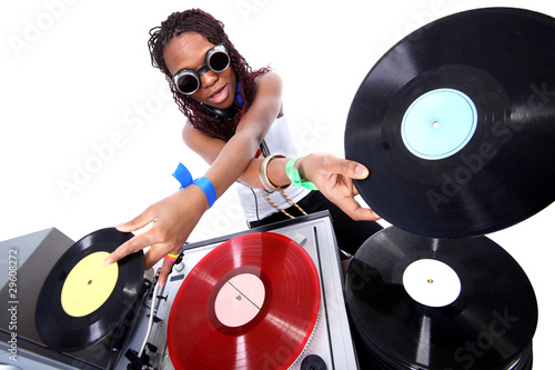Photo  cool afro american DJ in action isolated on white