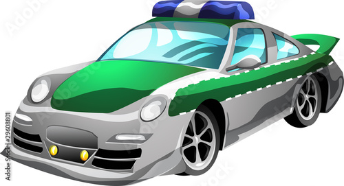 Keuken foto achterwand Cars Cartoon Police Car