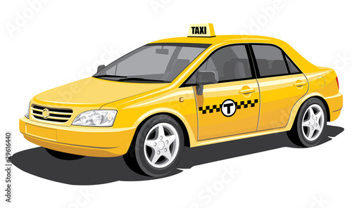 Fotografie, Obraz  Vector isolated taxi, without gradients