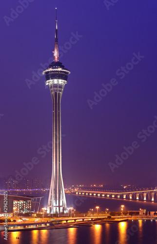 Spoed Foto op Canvas Violet Macau city at night
