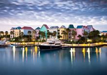 Tropical Caribbean Harbor Boat...