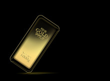 1kg Gold Bar Isolated On A Black Background With Clipping Path