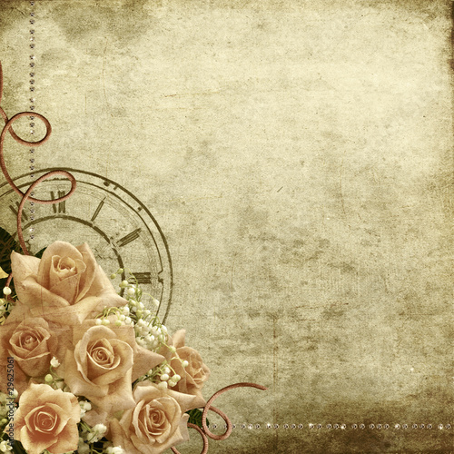 Foto op Plexiglas Retro Retro vintage romantic background with roses and clock