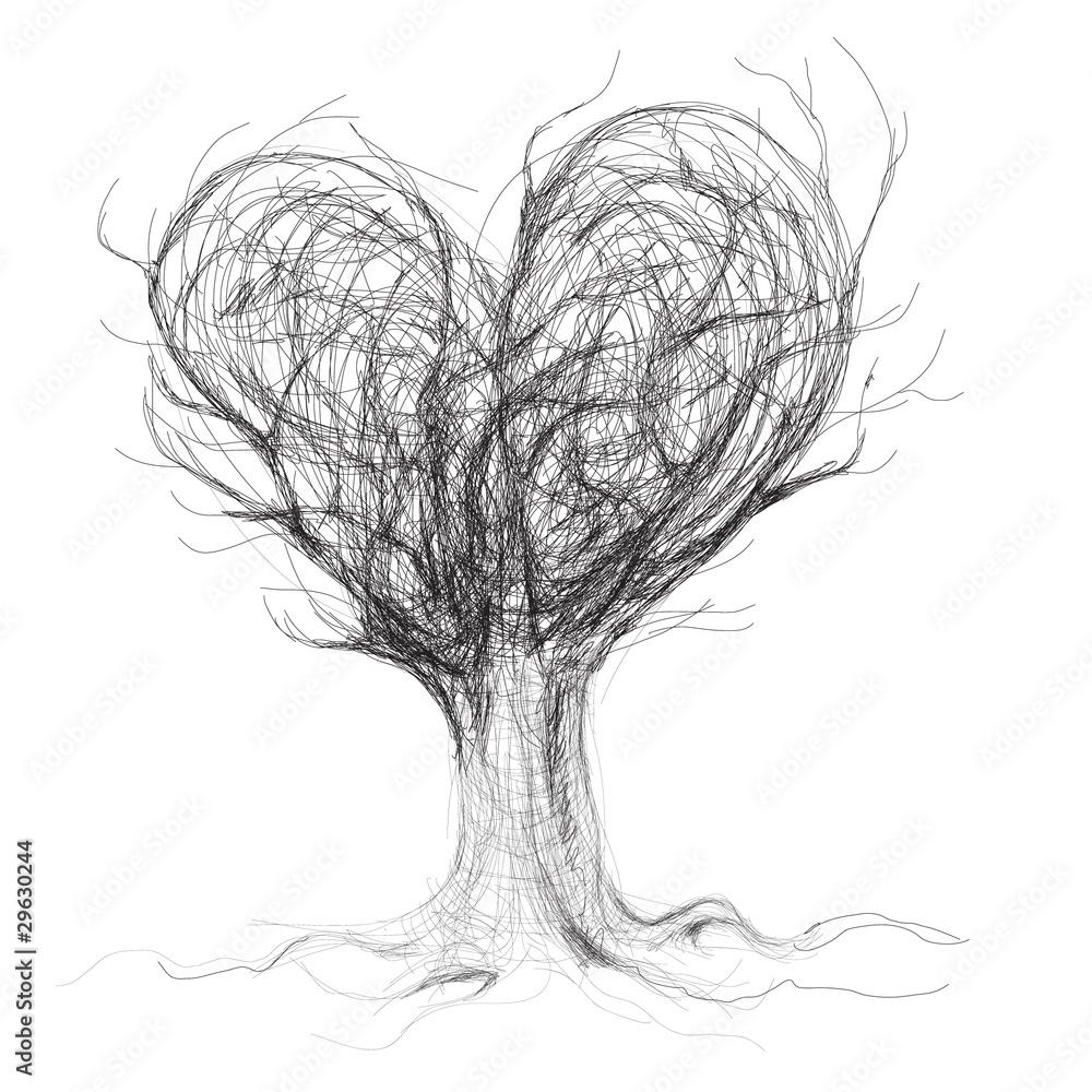 Fototapeta Drzewo jak serce - obraz na płótnie