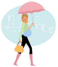 Pregnant Woman With Umbrella