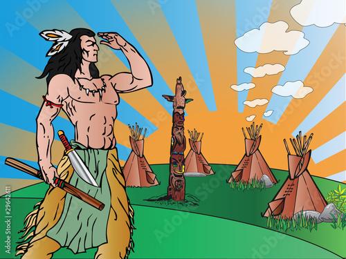 Poster Indiens Indian warrior
